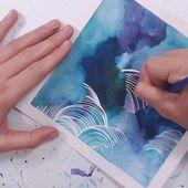 Dreamy watercolor ink skyscape