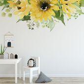 Floral Wall Decal Border Sunflower Bliss Watercolor Flowers Girl Nursery Decor – 150 wide x 49 tall / Long-Term Vinyl