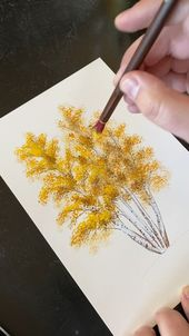 Original autumn forest birch tree wall art, hand-painted autumn modern rural grassland landscape, po