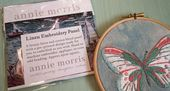 Annie Morris Embroidery Color Printed Linen Panel, BUTTERFLY
