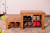 Bamboo Shoe Rack Storage Bench