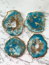 Turquoise Gold and White Coasters, Turquoise, Gold and White Geode Resin Coasters, Coasters, Marble Coasters, Glitter Coasters, 3D Art