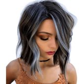 Cool-Toned Icy Blue & Brunette Foilayage – Behindthechair.com