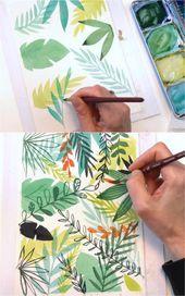 12 Easy Watercolor Leaves Painting Tutorials