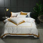 Alcazar Luxury White 100% Cotton Duvet Cover Set – 2 / Fitted sheet style / Queen size 4pcs