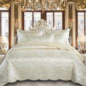 Luxury Embroidered Bedding Set – Double / Cream